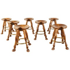 Set of Seven Americana Horse Leg Barstools Saddle Seats