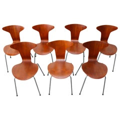 Set of Seven Arne Jacobsen Model 3105 Mosquito Chairs by Fritz Hansen 1967 Teak