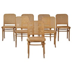 Set of Seven Bentwood Dining Chairs Josef Hoffmann Style