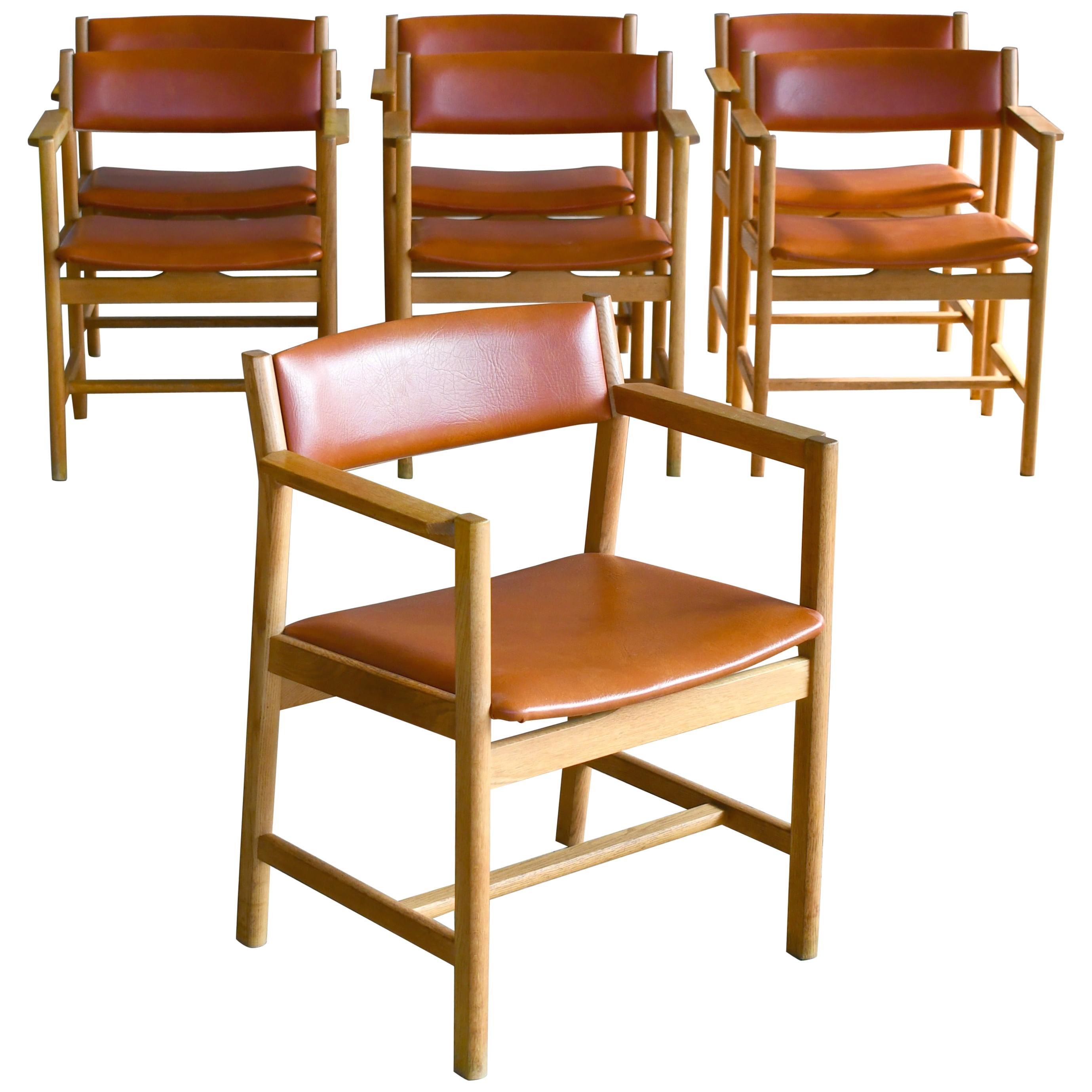 Set of Seven Børge Mogensen Dining Chairs Model 101 in Oak Danish Midcentury