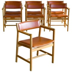 Set of Seven Børge Mogensen Dining Chairs Model 101 in Oak Danish Midcentury
