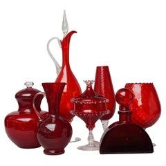 Set of Seven Bright Red MCM 1960s Italian Empoli Art Glass Decanters Vases Jars