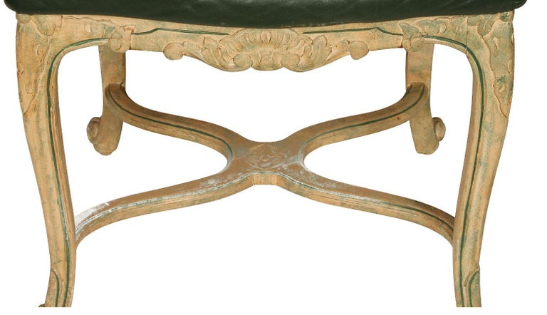 Set of Seven Caned Painted Louis XV Style Chairs In Good Condition For Sale In Locust Valley, NY