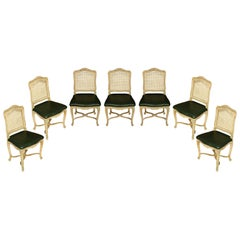 Set of Seven Caned Painted Louis XV Style Chairs