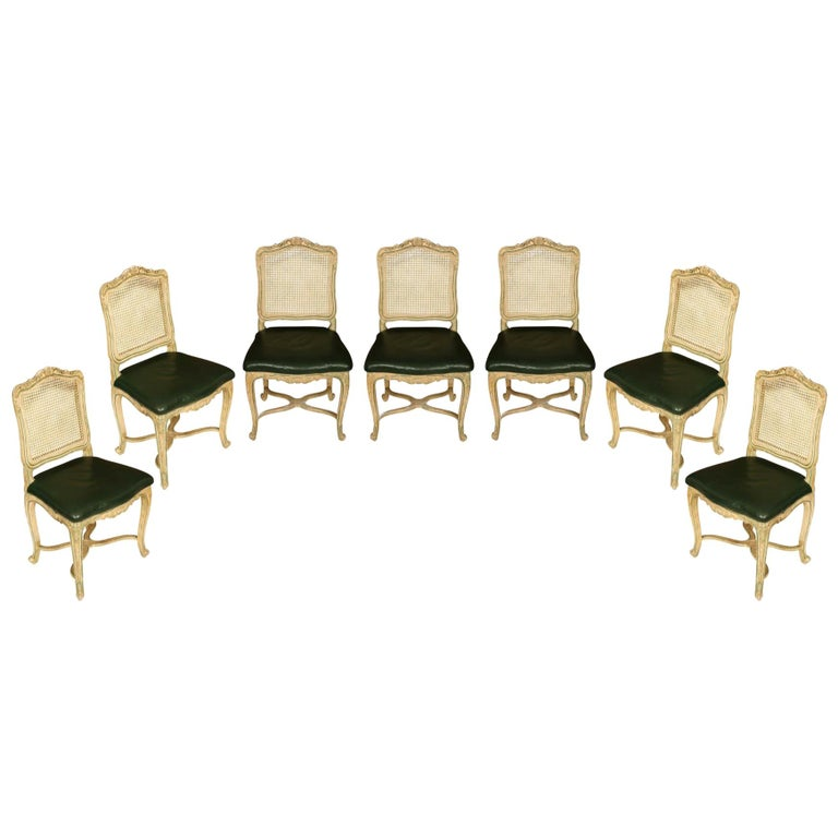 Set of Seven Caned Painted Louis XV Style Chairs For Sale