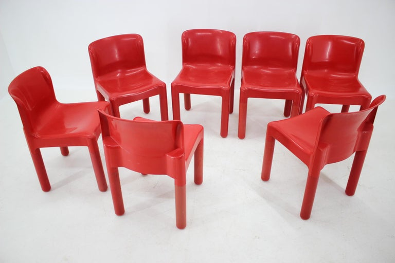Mid-Century Modern Set of Seven Chairs Kartell Designed by Carlo Bartoli, Italy, 1980s For Sale