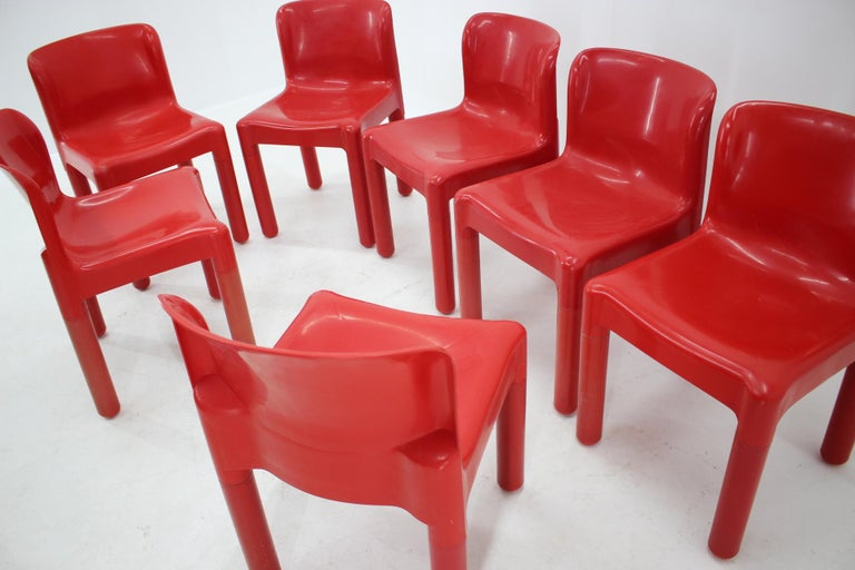 Italian Set of Seven Chairs Kartell Designed by Carlo Bartoli, Italy, 1980s For Sale