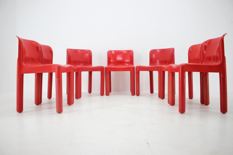 Plastic Set of Seven Chairs Kartell Designed by Carlo Bartoli, Italy, 1980s For Sale