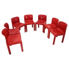 Set of Seven Chairs Kartell Designed by Carlo Bartoli, Italy, 1980s