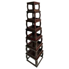 Set of Seven Chinese Export Stacking Campaign Style Pedestals