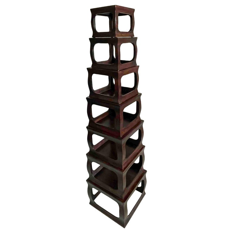 Set of Seven Chinese Export Stacking Campaign Style Pedestals For Sale