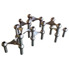 Set of Seven Chrome Candleholders by Caesar Stoffi & Fritz Nagel for BMF