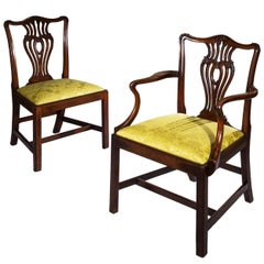 Set of Seven English 18th Century Chippendale Mahogany Dining Chairs