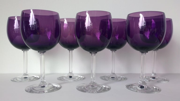 American Set of Seven Fostoria Deep Purple with Clear Stem Crystal Goblets / Glasses For Sale