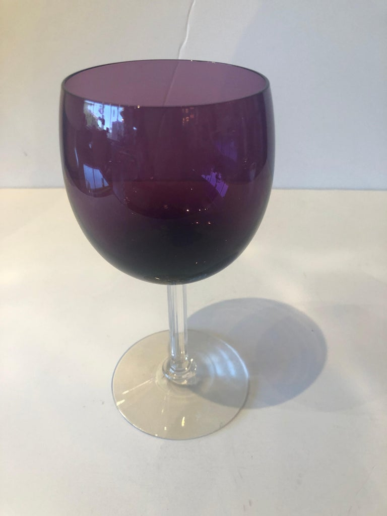 Set of Seven Fostoria Deep Purple with Clear Stem Crystal Goblets / Glasses For Sale 3