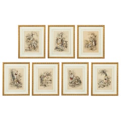 Set of Seven French Hand Colored Prints