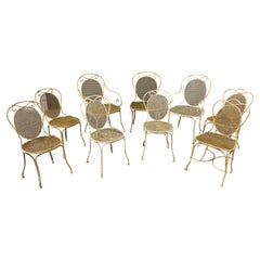 Set of Seven French Iron Garden Chairs