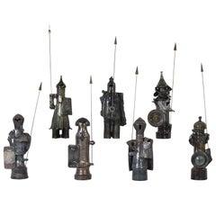 Set of Seven Glazed Ceramic Sculptures by Paul De Bruyne, Belgium, 1978