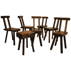 Set of Seven Hand Carved Oak Chairs, 1950s
