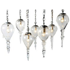 Set of Seven Handblown Glass Pendant Light Fixture