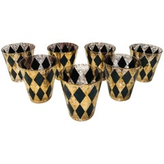 Set of Seven Hollywood Regency Barware Rock Glasses in Gold and Black, 1960s