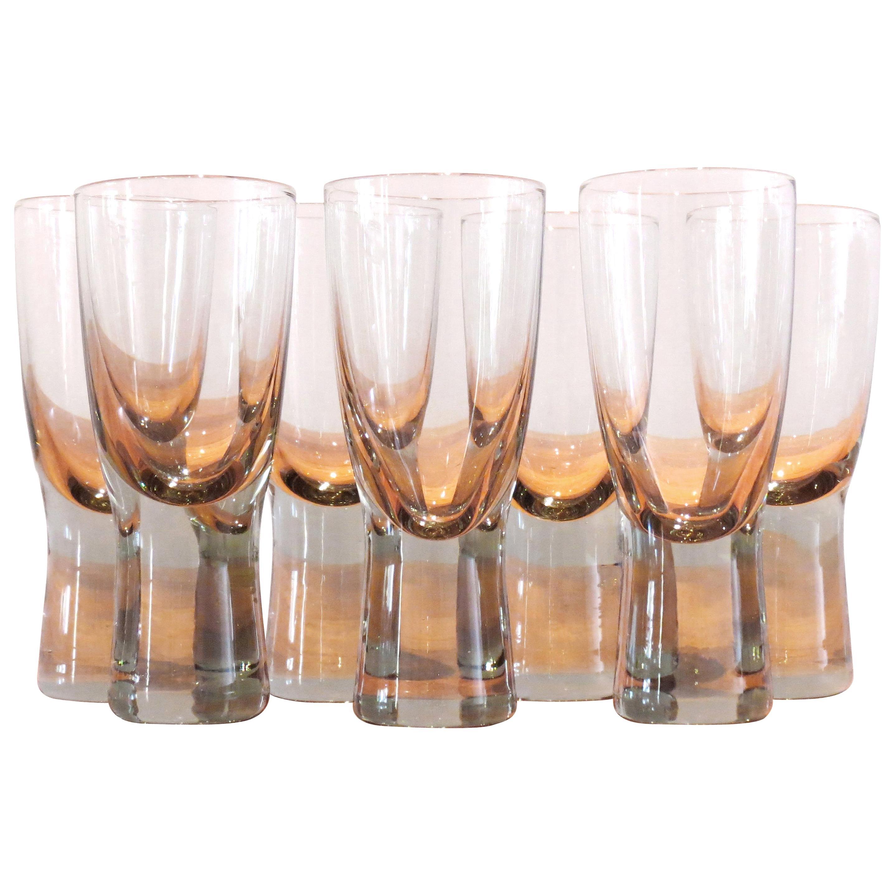 Set of Seven Holmegaard Canada Wine Glasses by Per Lutken