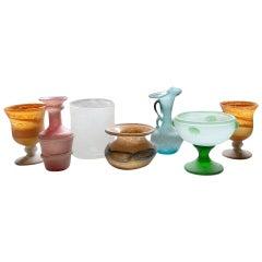 Set of Seven Italian Vintage Textured Blown Murano Glass Vases