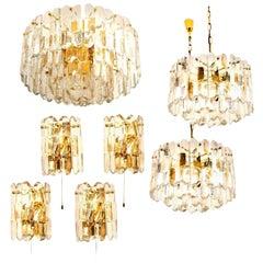 Set of Seven J.T. Kalmar 'Palazzo' Light Fixtures Gilt Brass and Glass, 1970