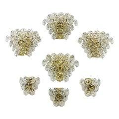 Set of Seven Kinkeldey Hexagonal Crystal Wall Lights, Germany, 1960s