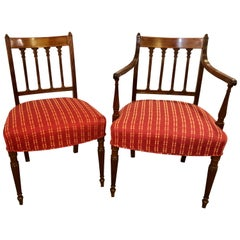 Set of Seven Late 19th Early 20th Century Georgian Style Dining Chairs