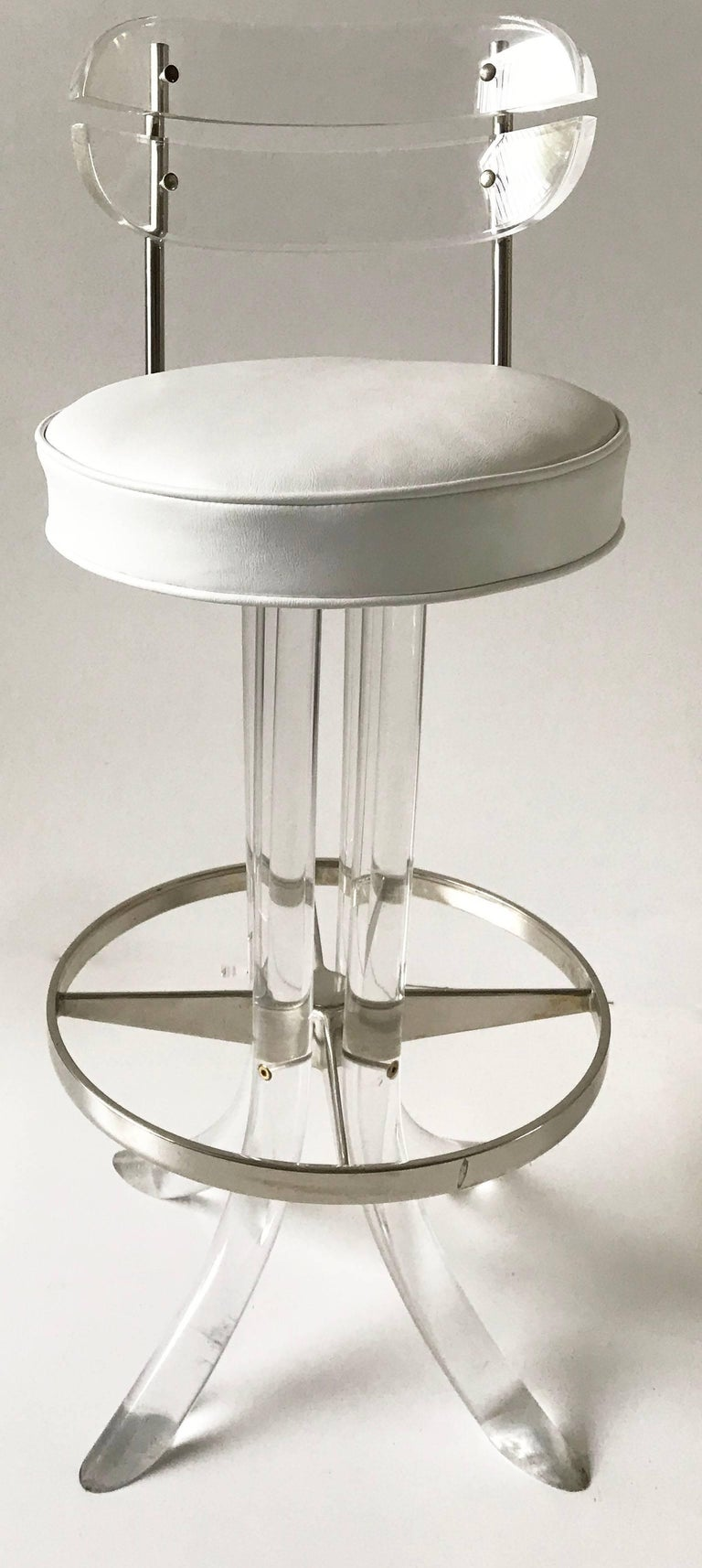 Set of Seven Hill manufacturing barstools Lucite and chrome with white vinyl seat top