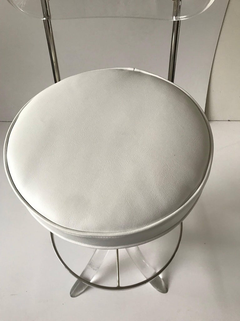 American Set of Seven Lucite Bar Stool For Sale