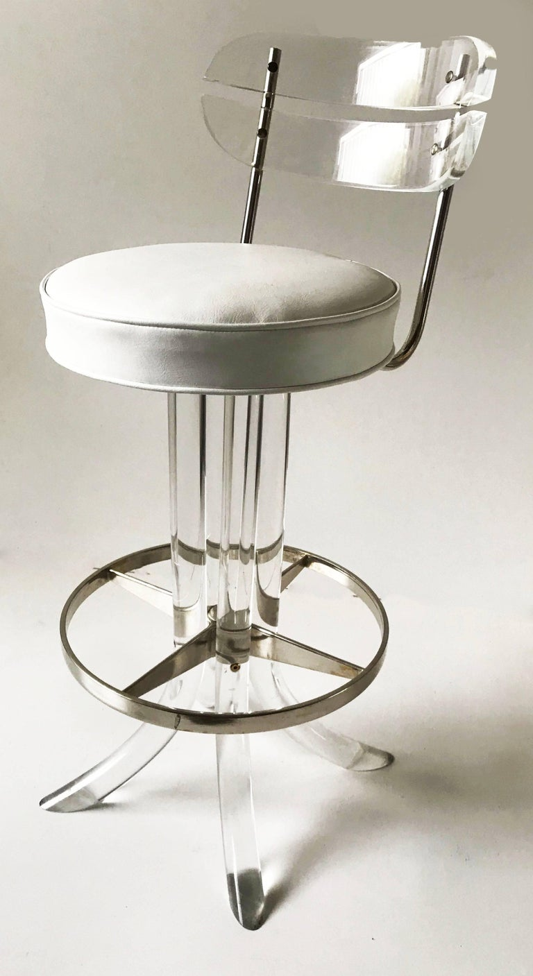 Late 20th Century Set of Seven Lucite Bar Stool For Sale