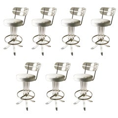 Set of Seven Lucite Bar Stool