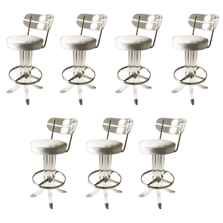 Set of Seven Lucite Bar Stool For Sale