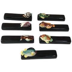 Set of Seven Majolica Knife Rests Vallauris Fishs and Shells, circa 1950