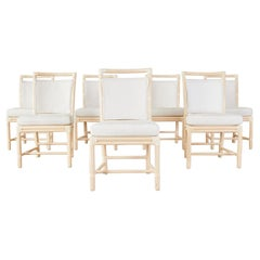 Set of Seven McGuire Blonde Rattan Target Dining Chairs