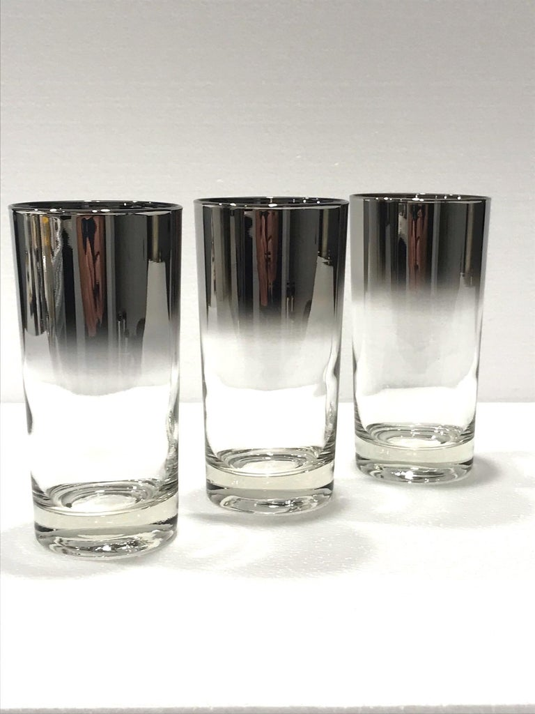 Set of Seven Mid-Century Modern Barware Glasses with Silver Overlay, 1960s For Sale 5