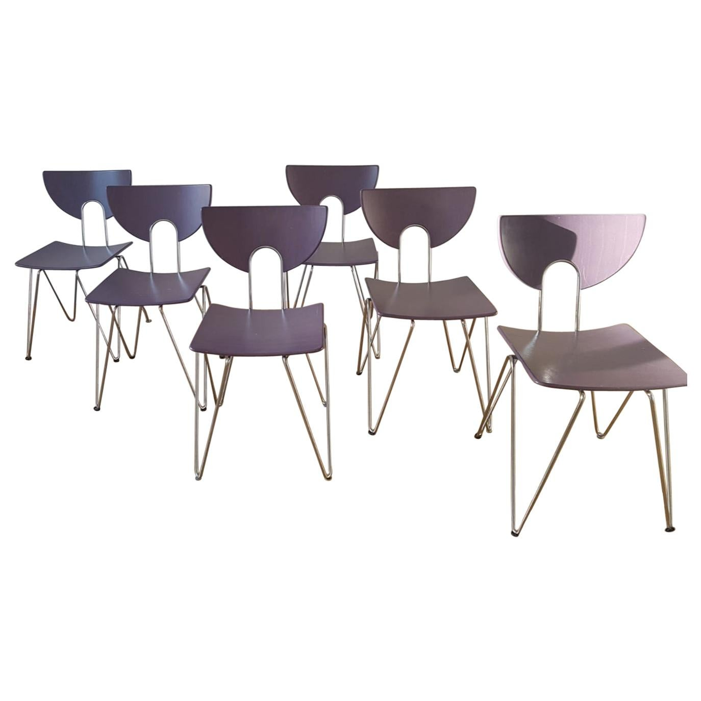 Set of Six Mikado 1800 Chairs designed by Walter Leeman for Kusch+Co, 1970s