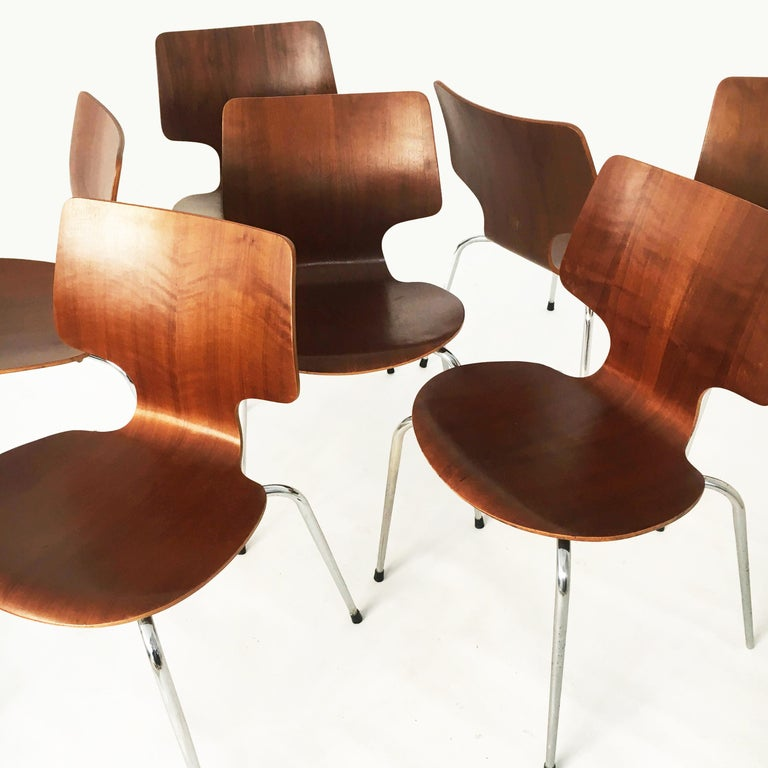 Danish Modern Teak Dining Chairs, Set of Seven, Denmark 1960s For Sale 6