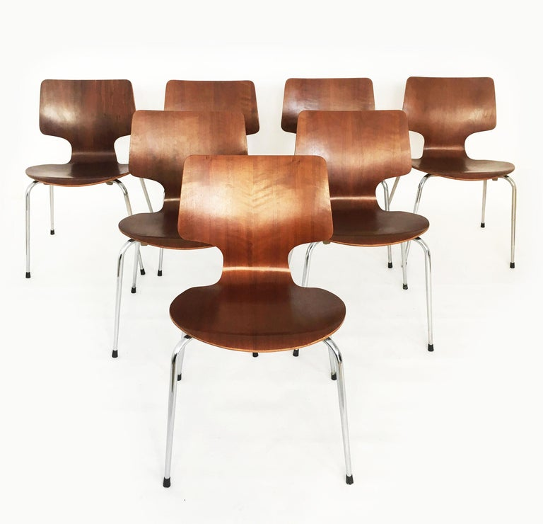 Danish Modern Teak Dining Chairs, Set of Seven, Denmark 1960s.