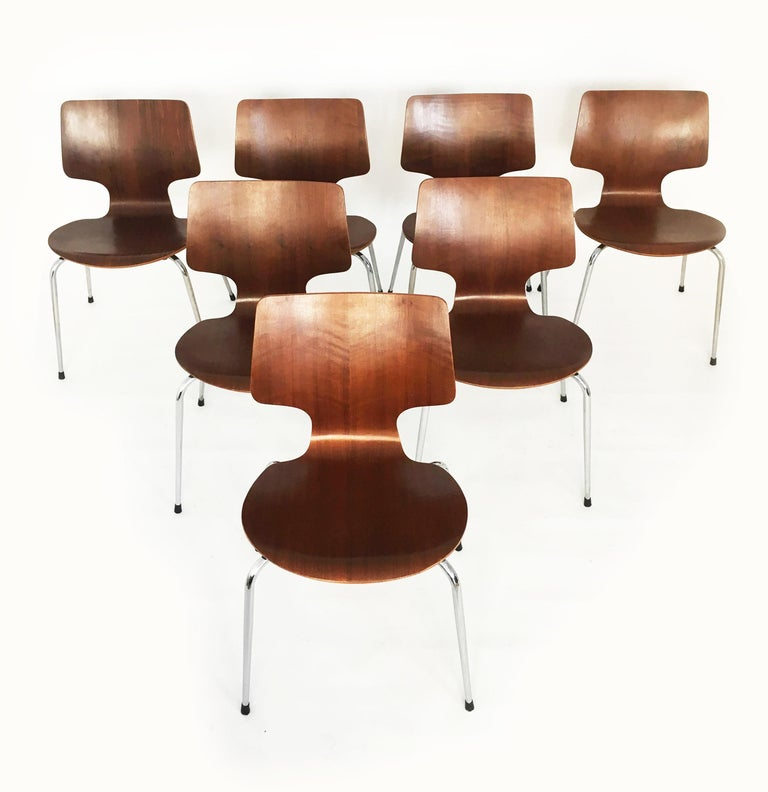 Danish Modern Teak Dining Chairs, Set of Seven, Denmark 1960s For Sale 1