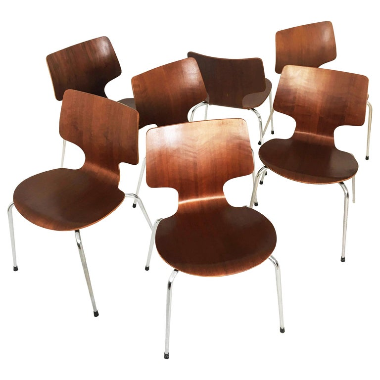 Danish Modern Teak Dining Chairs, Set of Seven, Denmark 1960s For Sale