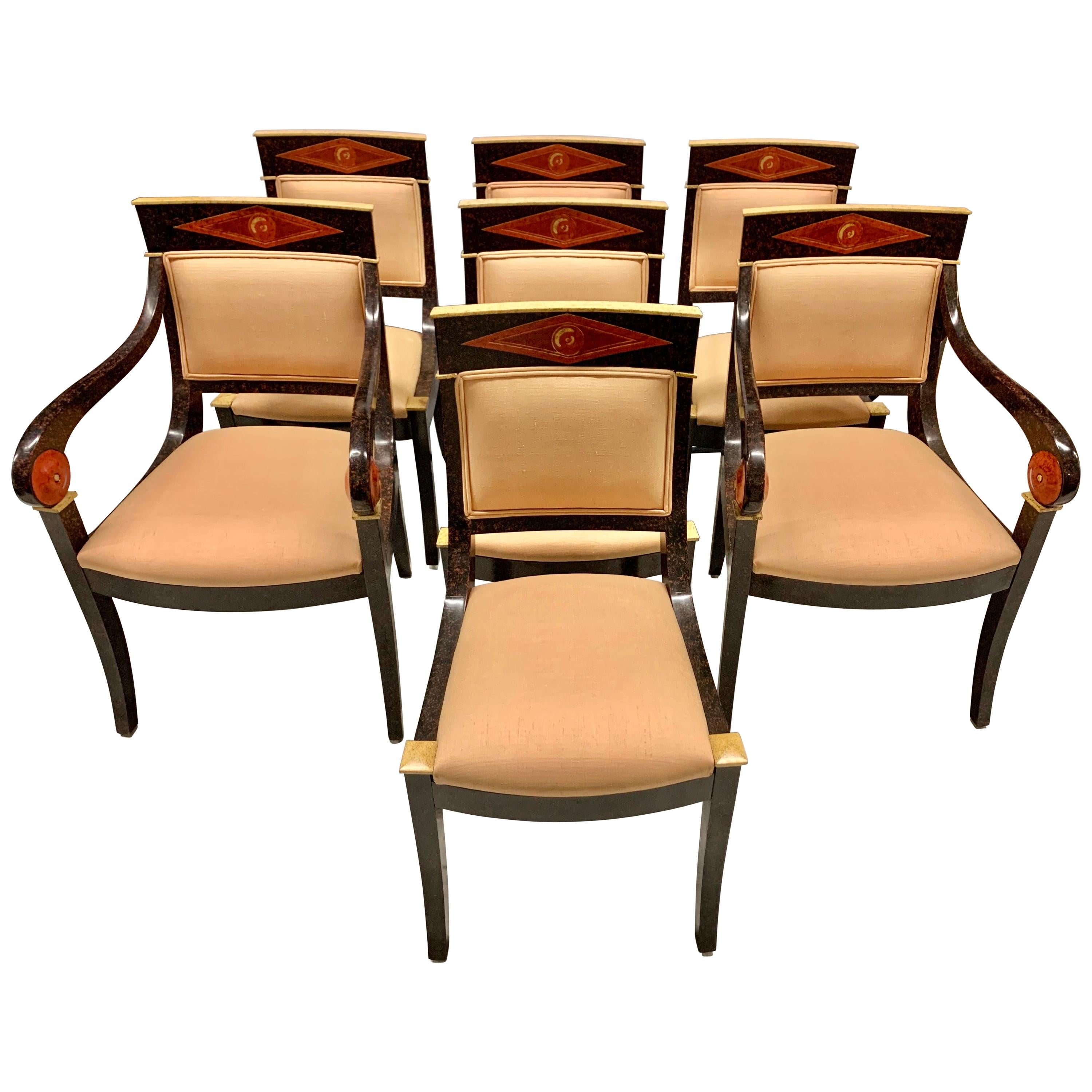 Set of Seven Neoclassical Hand Painted Dining Chairs