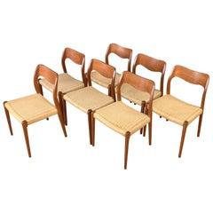 Set of Seven N.O. Møller Model 71 Teak Dining Chairs