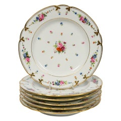 Set of Seven Paris Porcelain Dishes Hand Painted with Roses, France, circa 1840