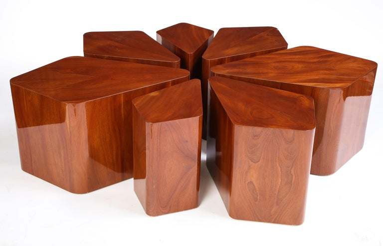 Set of Seven Petal-Form Side Tables, Designed by Juan Montoya, Modern For Sale 7