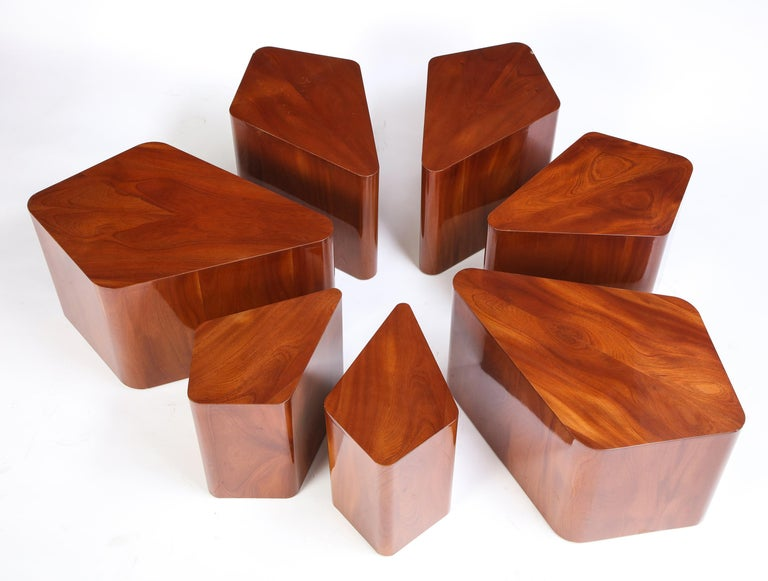 Set of Seven Petal-Form Side Tables, Designed by Juan Montoya, Modern In Good Condition For Sale In New York, NY