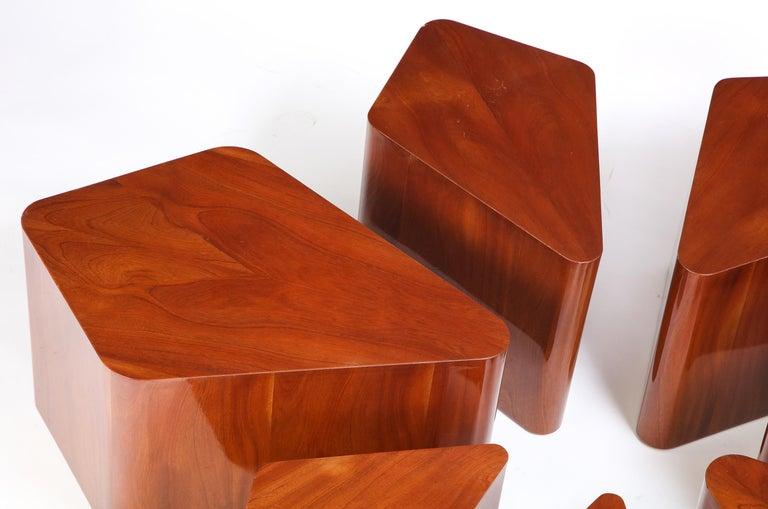 Set of Seven Petal-Form Side Tables, Designed by Juan Montoya, Modern For Sale 1