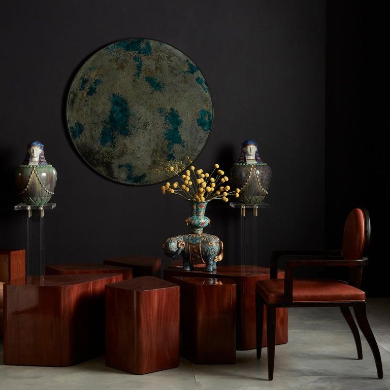 Wood Set of Seven Petal-Form Side Tables, Designed by Juan Montoya, Modern For Sale